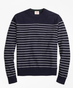 Navy & White Cotton Cashmere Sweater | Brooks Brothers