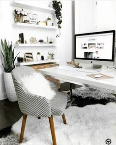 Simple Home Office Design Ideas. Therefore, the demand for home offices.Whether you are intending on adding a home office or refurbishing an old area into one, here are some brilliant home office design ideas to assist you get started. Cozy Home Office, Home Office Space, Home Office Desks, Small Office, Office Workspace, Bright Office, Office Shelving, Office Setup, Desk Space