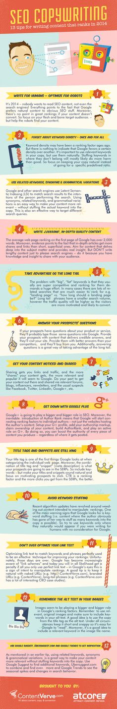 SEO Copywriting - 13 Tips For Writing Content That Ranks In 2014 #infographic