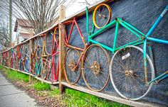 Bikes Framed in a Fence
