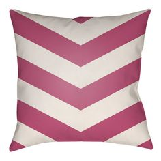 "Artistic Weavers Litchfield Chevron Outdoor/Indoor Throw Pillow Size: 20"" H x 20"" W, Color: Hot Pink/Ivory"