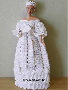 Vestido de noiva de crochê para Barbie