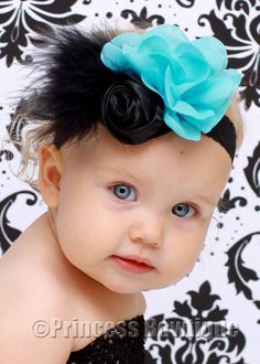 Black and Blue Vintage Queen Baby Headband: Baby Headbands- Baby Bow Headbands - Hair Bows - Baby Tutus at Princess Bowtique
