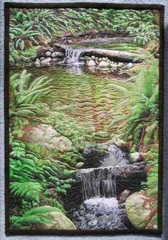 Water's Course landscape art quilt Landscape Art Quilts, Landscape Walls, Thread Painting, Artist Gallery, Applique Quilts, Fabric Art, Quilting Designs, Textile Art, Fiber Art