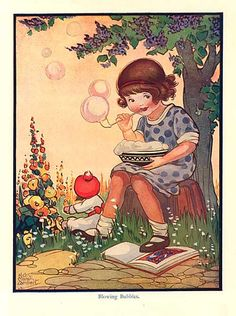 Vintage 1930s Storybook Illustration Print, Little Girl Blowing Bubbles by Marsh Lambert.