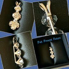 Past Present Future Pendant Gorgeous Asscher cut high quality CZ stones set in 14K white gold. Only worn once.  Ready for someone to wear it, and show it off!  The pictures really do not do this pendant justice! Jewelry Necklaces