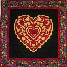 Heart of my Heart wall hanging by Phyl Wason (Arizona), designed by Jane Coscarelli.  Quilted by Cynthia Smith.