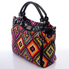 Wedge Aztec Canvas Diaper Bag