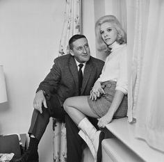 American author Mickey Spillane (1918 - 2006) with his wife, American singer…