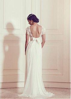 Fabulous Silk-like Chiffon V-neck Neckline Sheath Wedding Dresses