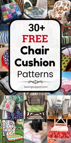 free chair cushion & cover sewing patterns, tutorials, and diy projects to sew for your kitchen and dining chairs, outdoor furniture and more. Instructions for how to make your own chair cushions. Cushion Cover Pattern, Chair Cushion Covers, Diy Pillow Covers, Outdoor Cushion Covers, Box Cushion, Kitchen Chair Cushions, Outdoor Chair Cushions, Dining Chairs, Sewing Pillows