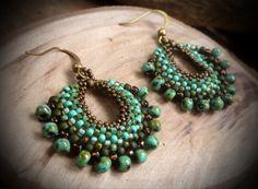 Gypsy boho orecchini, orecchini, gioielli di Gypsy, orecchini di perline, gioielli di perline, Beadwoven orecchini, gioielli etnici, bohemien orecchini