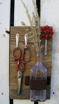 Red Scissor and Vintage Palmolive Bottle Vase by RusticSpoonful