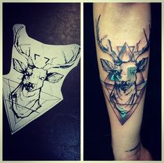My latest tatt. An abstract stags head with triangles using black, clay grey and teal ink. Props to Jon Peeler @ShallAdore (www.shalladoretattoo.com) for the handiwork, once again.