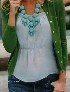 i need a green cardigan. Why have I never bought a green cardigan? It looks so nice with blue-jeans. Look Fashion, Fashion Clothes, Fashion Beauty, Autumn Fashion, Fashion Outfits, Womens Fashion, Fall Clothes, High Fashion, Fashion Shoes