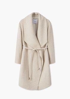 Wide lapel wool-blend coat | MANGO