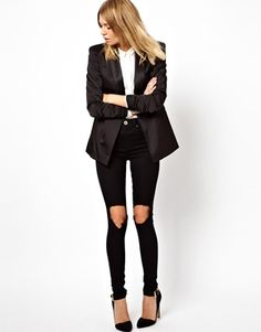 ASOS Ridley Supersoft Ultra Skinny Jeans in Clean Black with Busted Knees $56.95