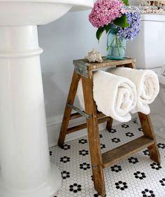 Love this bathroom ceramic tile! Bathroom Storage Ideas for Small Spaces - Stepladder Towel Holder - Click Pic for 42 DIY Bathroom Organization Ideas Bathroom Towel Storage, Bathroom Organization, Organization Ideas, Towel Shelf, Bathroom Faucets, Bathrooms, Simple Bathroom, Bathroom Small, Bathroom Black