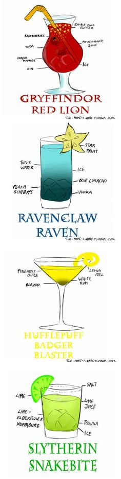 Harry Potter Drinks-though I don't know what one ingredient in each is, they look yummy! (liquor drinks recipes)