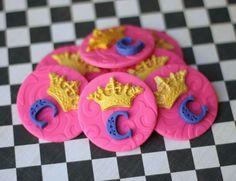 Princess Crown Fondant Cupcake Toppers Prince crown fondant toppers Princess cupcake topper prince cupcake topper wedding toppers by Les Pop Sweets on Gourmly