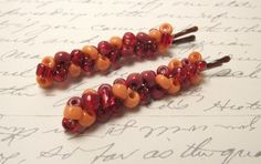Spicy Red and Orange beaded bobby pins by JMEBeads on Etsy, $7.00