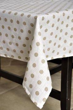Nappe rectangulaire en lin enduite à pois PASTILLE-LIN Blanc pois lin - 100% Lin Oilcloth, Tablecloths, La Perla Lingerie, White People, House, Kitchens