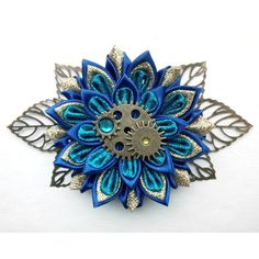 Kanzashi hair clip/Steam punk hair accessories/Kanzashi... ❤ liked on Polyvore featuring accessories, hair accessories, ribbon hair clips, flower hair accessories, steampunk hair accessories, hair clip accessories and flower hair clips