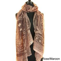 This is a fabulous scarf that you dress up or dress down, depending on the occasion. This light and airy scarf is a versatile piece, perfect for many styles and situations. Featuring an Indian paisley