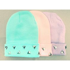 Pastel Grunge Beanie Pastel Goth Hat Triangle Studded Pastel Beanies... (22 AUD) ❤ liked on Polyvore featuring accessories, hats, purple beanie hat, blue beanie hat, studded beanie, beanie cap and blue beanie