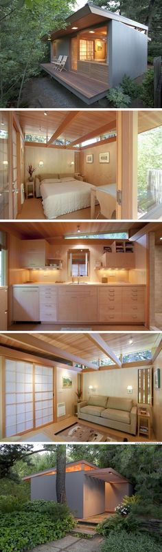 Shed Plans - The Teahouse, Oregon, tiny house, sq ft). Designed and converted from an old shed by architect, Pietro Belluschi in restored 2011 by Antony Belluschi. - Now You Can Build ANY Shed In A Weekend Even If You've Zero Woodworking Experience! Small Space Living, Small Spaces, Casas Containers, Building A Container Home, Tiny House Living, Bus Living, Living Rooms, Tiny Guest House, Modern Tiny House