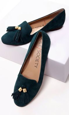 Green half loafers, so love the tassel toe look on shoes and velvet is so timeless