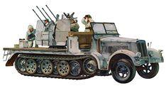 Sd.kfz. 7/1 halftrack de 8ton. armado con un Flakvierling 38 de 2cm, perteneciente a la 24th Panzerdivison. M. Onishi. Más en www.elgrancapitan.org/foro/