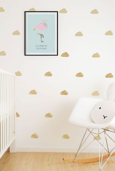 Gold clouds wall vinyl stockers / decals. For Wall with crib or wall with crib…