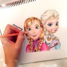 Anna Olaf and Elsa