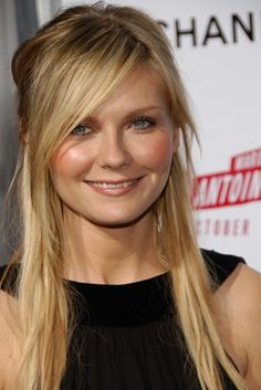 LOVE: half up, long side-swept bangs pulled from low on forehead, edgy layers and bangs kirsten dunst