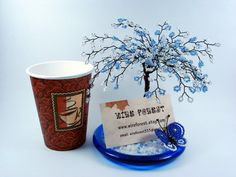 Blue Blossom Art Sculpture Tree  Desktop Business by wireforest, $58.00