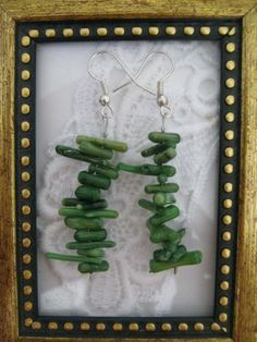 Handmade Green Coral Chip Stack Earrings, Free Shipping, Free U.S. Shipping!!