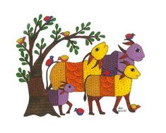 Signed at front. The Gond tribal community is one of cent - Pichwai Paintings, Indian Art Paintings, Watercolor Paintings, Abstract Paintings, Arte Tribal, Tribal Art, Indian Traditional Paintings, Kalamkari Painting, Happy Cow