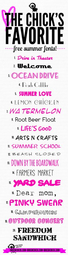 The Chick's Favorite Free Summer Fonts!  ~~ {20 free fonts w/ easy links}