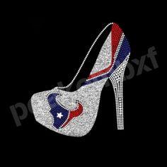 Houston Texans High Heel Glitter Rhinestone Transfer Designs Wholesale 30pcs/lot