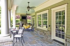 love the ceiling color, siding and floor