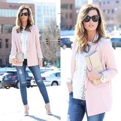 Blush & lace on www.forallthingslovely.com today, wearing this super chic boyfriend blazer!.... @liketoknow.it www.liketk.it/2832v #liketkit