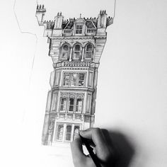 Scotland-based artist Minty Sainsbury meticulously draws buildings that are hidden behind the silhouettes of other structures. Each piece offers an London Architecture, Architecture Drawings, Architecture Details, Architecture Student, Building Drawing, Architectural Prints, Landscape Drawings, Urban Sketching, Built Environment