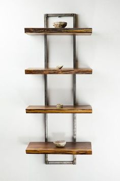 Reclaimed Black Walnut Wood Wall Shelf Trees live on with this hand crafted wooden shelf. Functional art at its finest, as artisan furniture maker, Scott. Wood Wall Shelf, Wall Shelves Design, Wooden Shelves, Wooden Walls, Glass Shelves, Wood And Metal Shelves, Wood Shelf Brackets, Book Shelves, Display Shelves