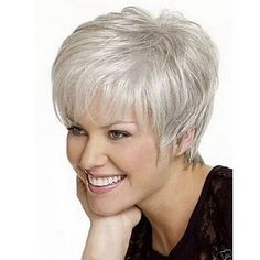 Shaggy Spiffy Natural Wavy Short Silvery White Mixed Full Bang Capless Synthetic Wig For Women