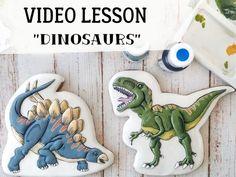 Dinosaurs | Etsy Basic Cookies, Dog Cookies, Cookies Et Biscuits, Onesie Cookies, Fancy Cookies, Cake Cookies, Cupcakes, Dinosaur Cookies, Handmade Crafts