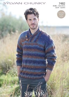 a3a58655d Sirdar Pattern 7482  Mens Sweater in Sylvan Chunky
