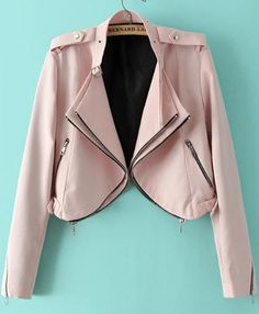 To find out about the Pink Long Sleeve Epaulet Crop Jacket at SHEIN, part of our latest Jackets ready to shop online today! Couleur Rose Pale, Quoi Porter, Latest Street Fashion, Pink Jacket, Pretty Outfits, Pretty Clothes, Autumn Winter Fashion, Fall Fashion, Fashion Beauty