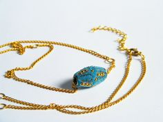 Turkish Blue Necklace  Long Golden Chain Necklace  by FlosCaeli, $21.45
