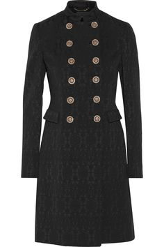 VERSACE Double-breasted stretch wool-blend brocade coat $3,875